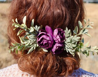 silk flower comb, floral hair comb, purple bridal comb, purple flower comb, purple wedding comb, wildflower hair comb, custom bridal comb,