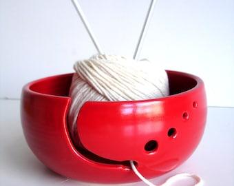Red Simple Modern Ceramic Wheel Thrown Yarn Bowl - MADE TO ORDER
