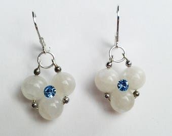 Moonstone Earrings White Dangle Earrings Gemstone Earrings Gift~For~Her Drop Earrings Flower Earrings Handmade Gift