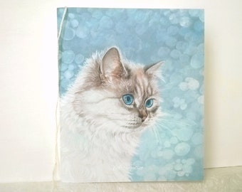 Note book, white cat . Gift idea