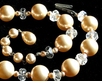 Necklace Vintage Wedding CrystaLs Pearls SaLe Downton Abbey Choker Marilyn Elegant Signed Antique Japan Mid Century Mad Men Formal Art Deco