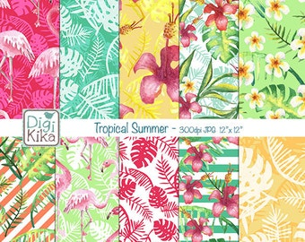 Tropical Summer Digital Papers, Summer Scrapbook Paper - Summer Papers - Flamingos Background - INSTANT D