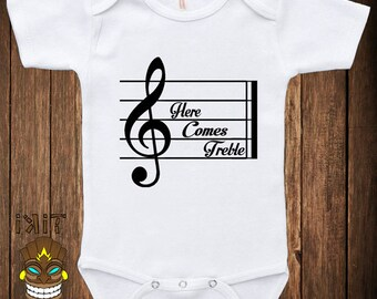 Funny Baby Infant Bodysuit Clothes One-piece Romper Here Comes Treble Trouble Humor Music Musician Joke Fun Geek Nerd Adorable Cute Shower