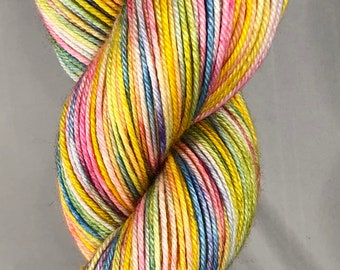 Ready to ship, 100g, Hand Dyed Yarn, Silk:Merino UK DK Yarn, Pastel Rainbow Yarn, Variegated Yarn, Superwash Yarn