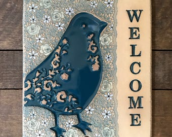 Ceramic Blue Bird and Roses Welcome Sign for Outdoor Use / Housewarming or Wedding Gift / Cabin or Vacation Home / Teal Bird / IN STOCK