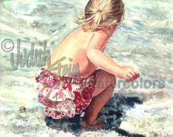 "Blond Beach Comber Girl on Seashore, Pink Romper Dress, Seashore, Children Watercolor Painting Print, Wall Art, Home Decor, ""Sea Freedom"""