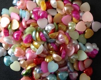 Resin Flatback Pearl Hearts Mixed Colour Embellishment 100pcs