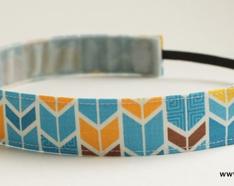 Multi Color Geometric Feather Pattern Fabric Headband, Non Slip Headband (Non Slip Velvet Lining)
