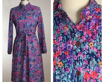 80s Sears Blue Floral Micro Pleat Belted Midi Secretary Dress, Size Medium to Large