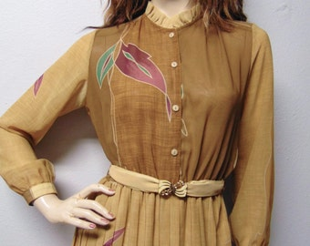 Vintage 70's Semi Sheer accordion pleated dress with ruffle collar  Sz Small