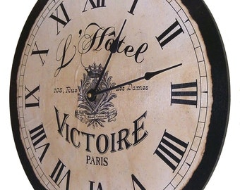 "Large French, Paris L'Hotel Victoire Vintage, Country, Shabby, Chic Clock 18"" X 18"""
