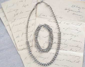 Vintage Rhinestone Choker Necklace and Bracelet - Costume Formal Prom Wedding Jewelry