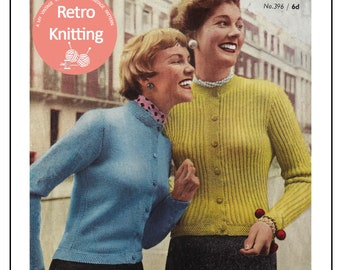 1950s Cardigan Knitting Pattern - PDF Instant Download