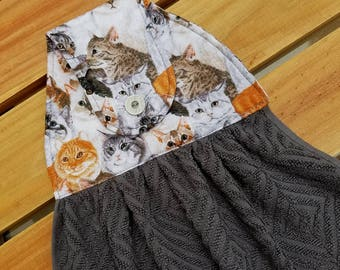 Cats, Hanging Dish Towel, Kitchen Towel, Button Top, Grey Towel, All Cotton, Kittens