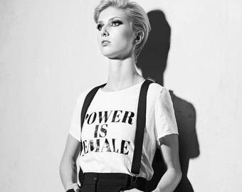 Power is Female Graphic TShirt Black and Whitte