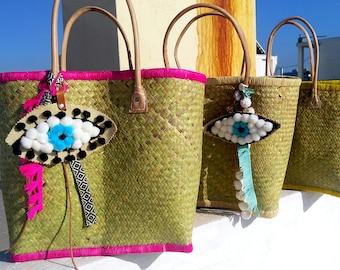 summer bag/straw bag/french market bag/pom pom bag charm/straw beach bag/initialed beach bag/beach bag/beach tote/french market basket