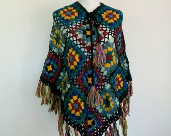 RESERVED FOR KIM/1960s/70s Vintage Bohemian wool Patchwork poncho/Hippie flower power winter cape