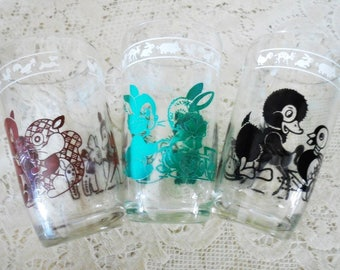 Vintage Set of 3 Swanky Swigs, Whimsical Animals, Child Size Juice Glasses, Multi Colors, Child's
