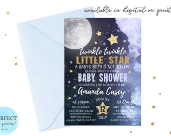 Twinkle Twinkle Little Star Baby Shower Invitation, Moon and Stars Glitter Baby Shower