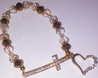 Religious Christian Jewelry Cross Heart Bracelet Religious Jewelry Christian Bling BR29