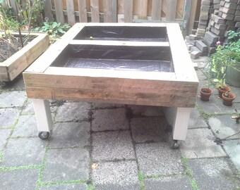 square foot garden, kitchen garden on legs with wheels