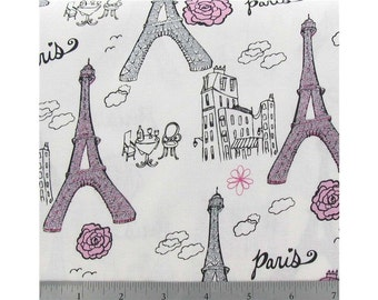 2 yards of glitter eiffel tower Paris fabric