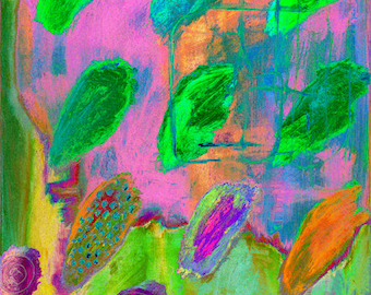 """Abstract Painting,Canvas Art,Gallery Art,home art,Painting Art,Wall Decor Gift,Hotel Art, Painting """"PSYCHEDELIC FINGER PRINTS"""""""