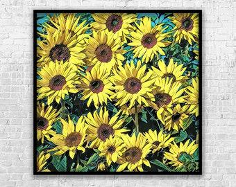 Sunflowers, Art Print, Printable Art, Digital Art, Instant Download, Wall Decor