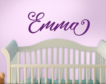 Personalized Name Decal, Baby Nursery Custom Name, Nursery Wall Decal, Script Font (Shown: Emma in dark Violet Purple) [0182a16v]
