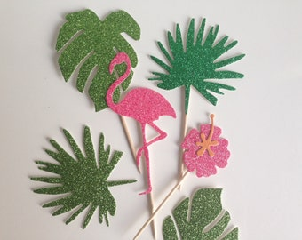 Tropical Palm Leaf, Hibiscus and Flamingo Canapé or Cupcake Toppers