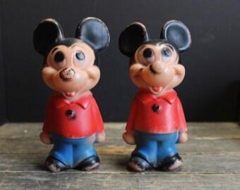 2 Vintage Plastic Mickey Mouse Toys // Hanna Barbera