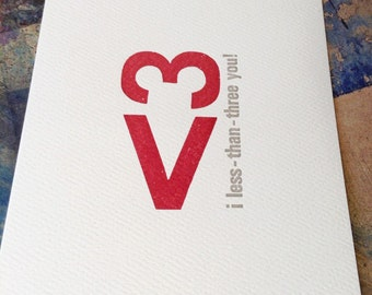 i less-than-three you! <3 Handmade Letterpress Printed Postcard <3 printed in red and grey on cream colored felt paper
