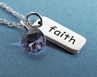 Faith Necklace Crystal Charm, Faith Jewelry, Sterling Silver, Faith Pendant Necklace