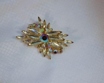 Juliana Gold AB Crystal Comet Brooch, Juliana Starburst Brooch