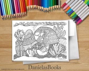 1 Manatee - 5x7 - Coloring Greeting Card - blank inside. Perfect gift for art lovers.
