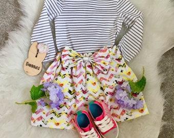 Maizie Skirt - Floral Bloom Chevron Print