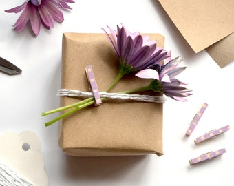 Mini Pegs - Purple Gift Wrapping || Choose Your Own Set of 8 Clothes Pins || Tiny Wooden Pegs in the Home Office || Stationery Clothespins