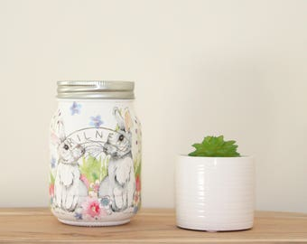 Hand Painted Kilner Jar with White Bunny Couple