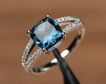 London blue topaz ring cushion cut gemstone promise sterling silver ring blue gemstone ring