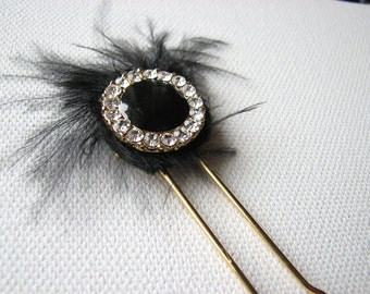 Black hair piece | rhinestone pin | gold | feather