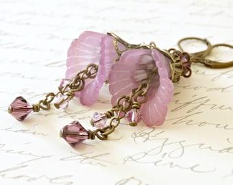 Purple Lucite Flower Earrings, Dyed Lucite Flower Earrings