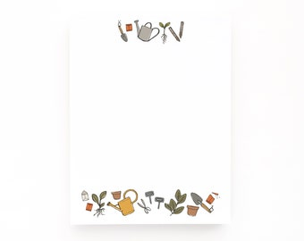 Illustrated Notepad | Small Illustrated Stationery Desk Pad : Gardener's Notes Notepad