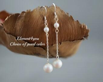 Bridesmaid earrings, Wedding earrings, Bridal earrings, Bridal jewelry, Bridesmaid gift, pearl dangle earrings, simple earrings, White black
