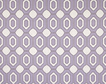 Linen Fabric By the yard Geo Lavender on  Ivory