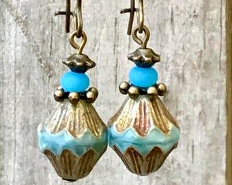 Boho Earrings, Turquoise Earrings, Bronze Earrings, Ethnic Earrings, Tribal Earrings, Gypsy Earrings, Bohemian Earrings, Earthy Earrings
