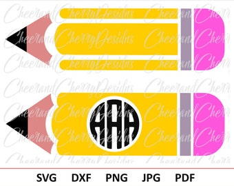Pencil SVG file Pencil Monogram Svg School Monogram Svg Teacher monogram svg Teacher Svg Pencil circle monogram Cricut Pencil Silhouette svg