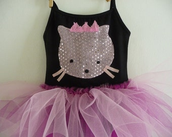 SPARKLE PRINCESS KITTY Leotard Tutu- Kitty Tutu -  Sized 18/24 months, 2/4 years, 4/6 years, 6/8 years up to Adult Sizes