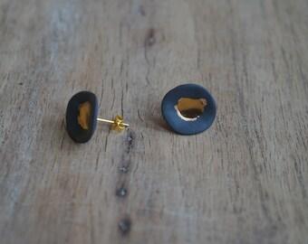 Porcelain earrings, Black porcelain and gold earrings, Porcelain jewelr, Stud earrings