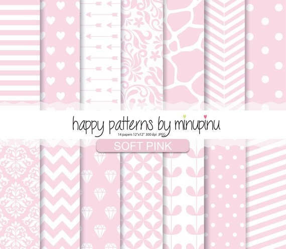 Pink Digital Paper Soft Pink Patterns Baby Pink Scrapbook