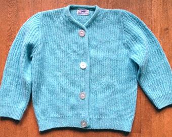 1960s Aqua Wool Ribbed Cardigan